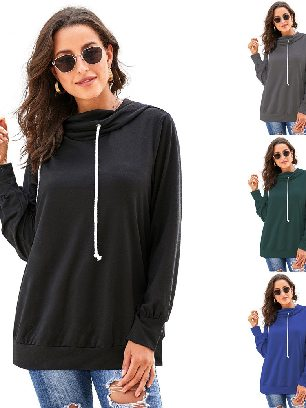 Supply Sweater Solid Color Long Sleeve Hoodie with Rope Drawstring