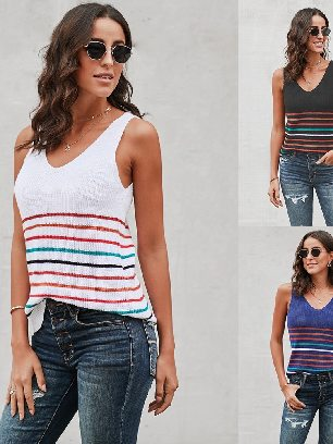 Supply Multicolor Sleeveless Stripes Knit Women Tank Top