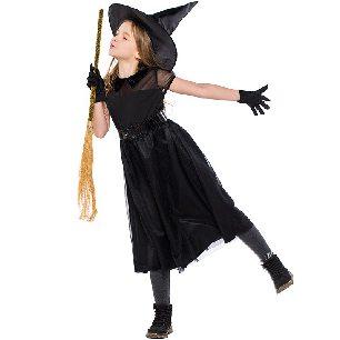 Witch Costume Black Mesh Little Devil Girls dress Halloween Costume
