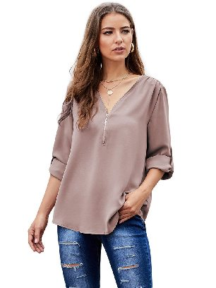 Khaki Solid Color Casual V Neck Zip Up Half Sleeve Blouse