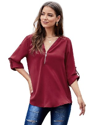 Red Solid Color Casual V Neck Zip Up Half Sleeve Blouse