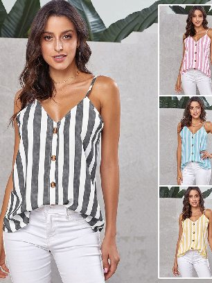 Supply Sexy Sling Button Up V Neck Women Strappy Cami Top