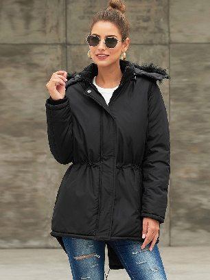 Black Winter Padded Coat Slim Hooded Parka