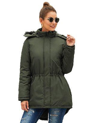 Green Winter Padded Coat Slim Hooded Parka