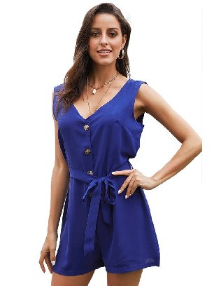 Blue Lace-up Shorts Belted Button Up Romper