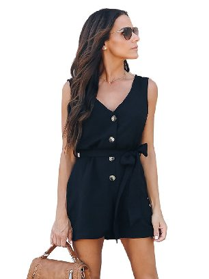 Black Lace-up Shorts Belted Button Up Romper