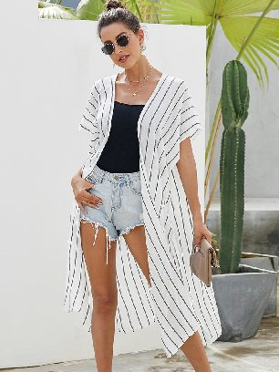 Loose Female Striped Kimono