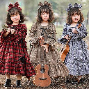 Japanese Kids Plaid Bow Dress Parent-child Lolita Clothing