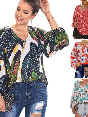 Supply Loose Boho Print Lantern Sleeve Blouse