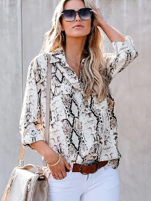 Supply Classic Leopard Print Ankle-length Sleeve Shirt with Pockets