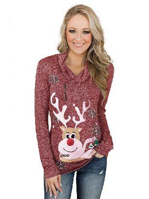 Christmas Reindeer Snow Print Zipped Pullover Top