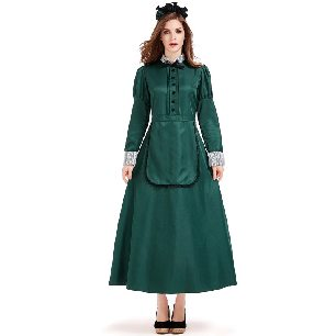 dark green castle bat witch maid butler lady long sleeve dress Halloween Costume