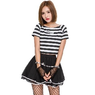 prisoner uniform temptation split tutu skirt DS suit Halloween costume