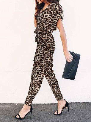 Camouflage Leopard Print Jumpsuit