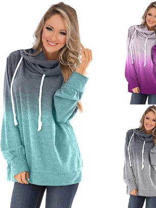 Supply Gradient Autumn Hooded Ombre Pullover Long Sleeve Hoodie