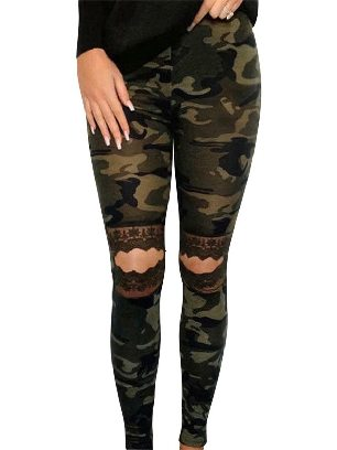 Army green Floral Hollow Out Leopard Printed Lace Stretch Leggings