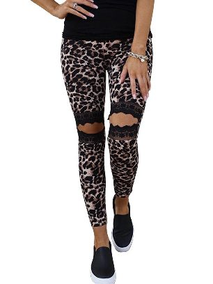 Leopard print Floral Hollow Out Leopard Printed Lace Stretch Leggings