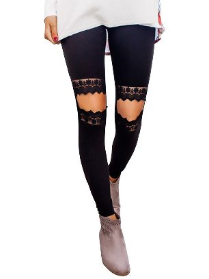 Black Floral Hollow Out Leopard Printed Lace Stretch Leggings