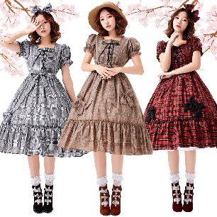 Lolita Plaid Bow Daily Girl Princess Dress Detachable Sleeve Parent-child Stage Costume
