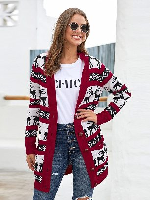 Elk Printed Long Sleeves Buttoned Knitting Women Christmas Cardigan