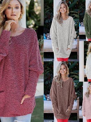 Winter Long Sleeve Mid-length Break Knit Tunic Sweater