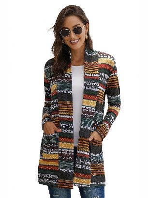 Multicolor Fall Winter Multicolor Unforgettable Printed Knitting Coat
