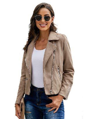 Khaki Zipped Notch Collar Short Jacket