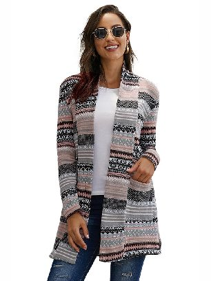Gray Fall Winter Multicolor Unforgettable Printed Knitting Coat