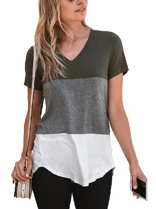 Supply Summer Leisure Stitching Color Block V Neck T-shirt