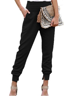 Black Pocketed Ancle-length Cotton Joggers