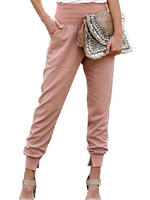 Pink Pocketed Ancle-length Cotton Joggers