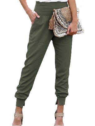 Green Pocketed Ancle-length Cotton Joggers