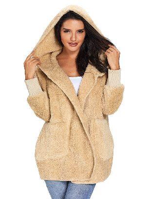 Khaki Soft Fleece Hooded Open Front Women Plus Size Coat
