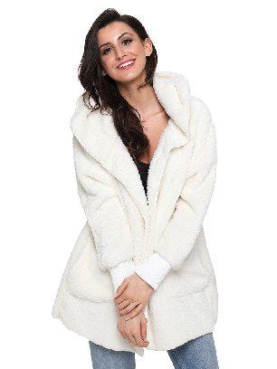 Creamy-white Soft Fleece Hooded Open Front Women Plus Size Coat