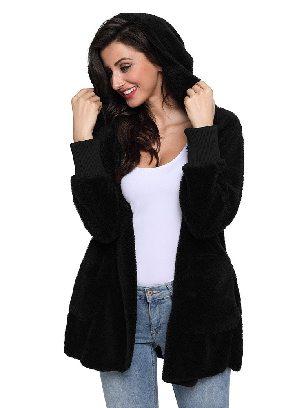 Black Soft Fleece Hooded Open Front Women Plus Size Coat