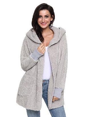 Gray Soft Fleece Hooded Open Front Women Plus Size Coat