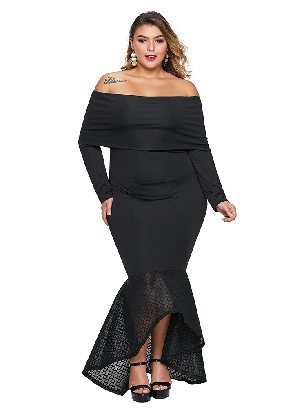Supply Women Overlay Off Shoulder Neckline Fishtail Plus Size Dress