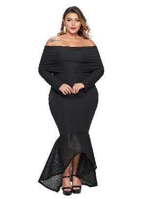 Supply Black Women Overlay Off Shoulder Neckline Fishtail Plus Size Dress