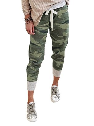 Dark green Camouflage Print Knit Sport Ancle-length Pants