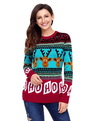 Red Cartoon Reindeer HO Christmas Knit Pullover Sweater