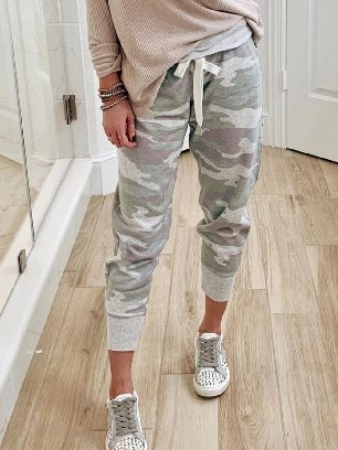 Green Camouflage Print Knit Sport Ancle-length Pants