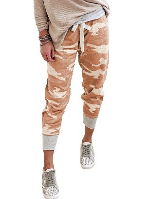 Orange Camouflage Print Knit Sport Ancle-length Pants