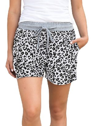 White Casual Leopard Print Knitted Waist Shorts