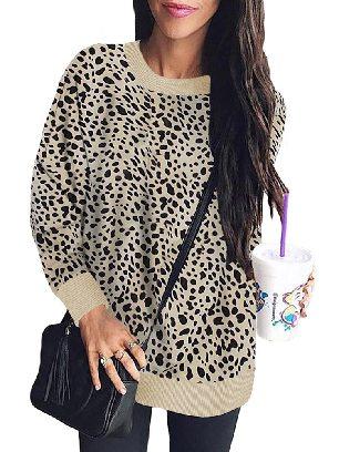 Supply Women Leopard Print Round Neck Pullover Sweatshirt