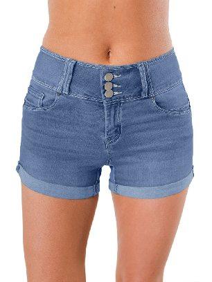 Raw Edge Straight Triple Button High Waisted Denim Shorts