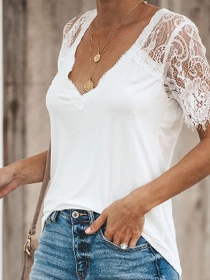Supply Women Short Sleeve Side Lace Stitching Cuffs Deep V Neck T-shirt