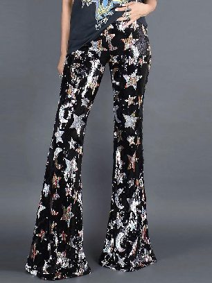 Supply Shining Stars Stitching Sequined Flare Pants