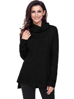 Autumn Winter Causal Knit High Neck Loose Sweater