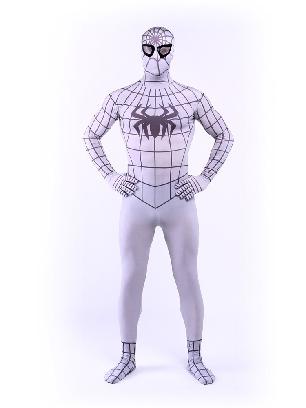 White Spiderman Super Hero Halloween Full Body Morph Costume Spandex Holiday Unisex Lycra Morph Zentai Suit