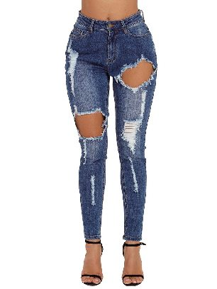 Supply High Waist Blue Wash Roll-up Cuff Distressed Ripped Jeans